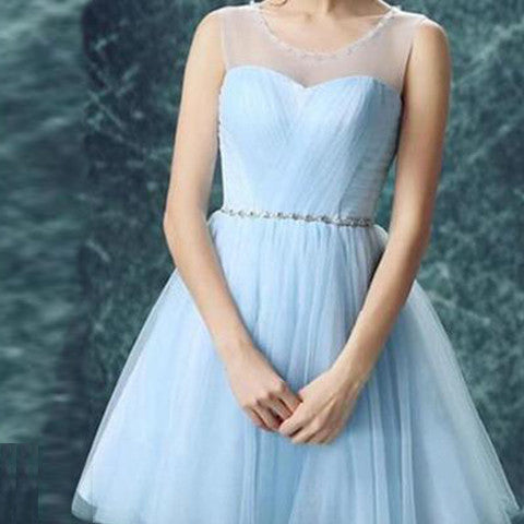 Junior Light Blue Illusion Tulle Clairvoyant Outfit Sweetheart Scoop Neck Keyhole Back Homecoming Dresses, CM0017