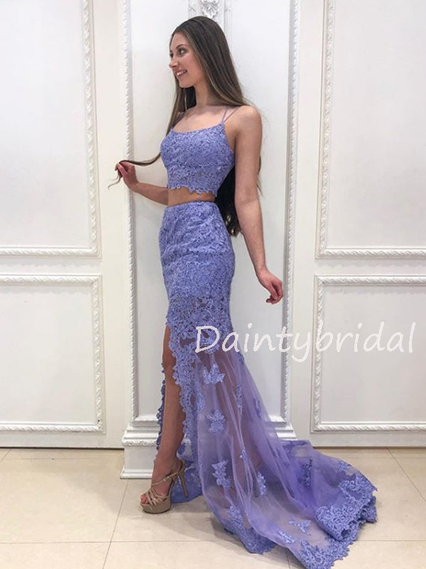 Charming Two-piece Tulle Mermaid Long Prom Dresses Evening Dresses.DB10532