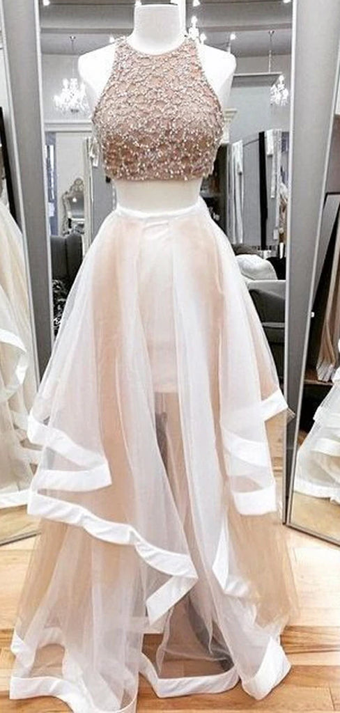 Newest Two Pieces Ruffles Ball Gown Long Formal Prom Dresses .DB085