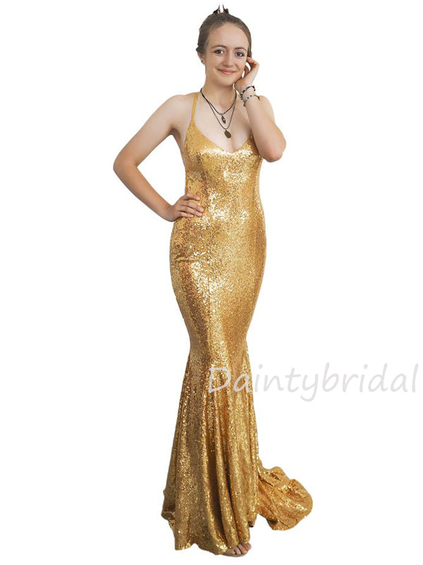 Sexy V-neck Mermaid Sequin Open Back Long Prom Dresses Evening Dresses.DB10432