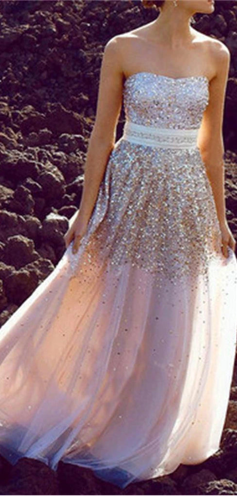 Long A-line With Sash Sweetheart Strapless Sparkle Gold Sequins Charming Evening Prom Dresses,PD0187