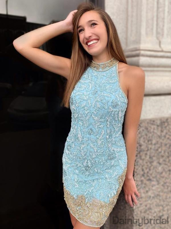 Halter Lace Sleeveless Open Back Homecoming Dresses.BD10227