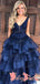 Vintage Open Back Sleeveless Royal Blue Lace Organza Ruffles Ball Gown Long  Prom Gown Dresses. DB1039