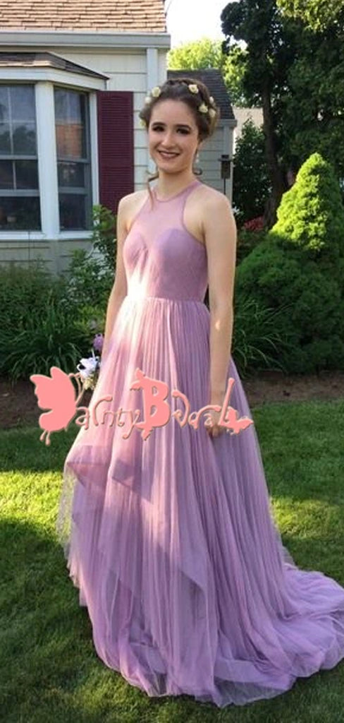 Affordable Light Purple Simple A-line Open Back Sweetheart Pleating Chiffon High Low Prom Dresses. DB1055