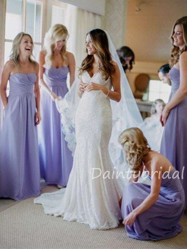 Charming Straight Chiffon A-line Long Bridesmaid Dresses.DB10422