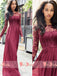 Round Neck A-line Burgundy Lace Top Chiffon Bridesmaid Dresses With Long Sleeves,DB101