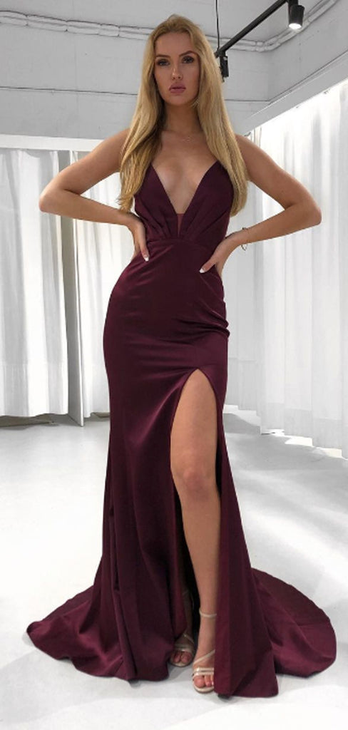 Popular V-neck Long Mermaid Side Slit For Teens Prom Gown Dresses. DB1040