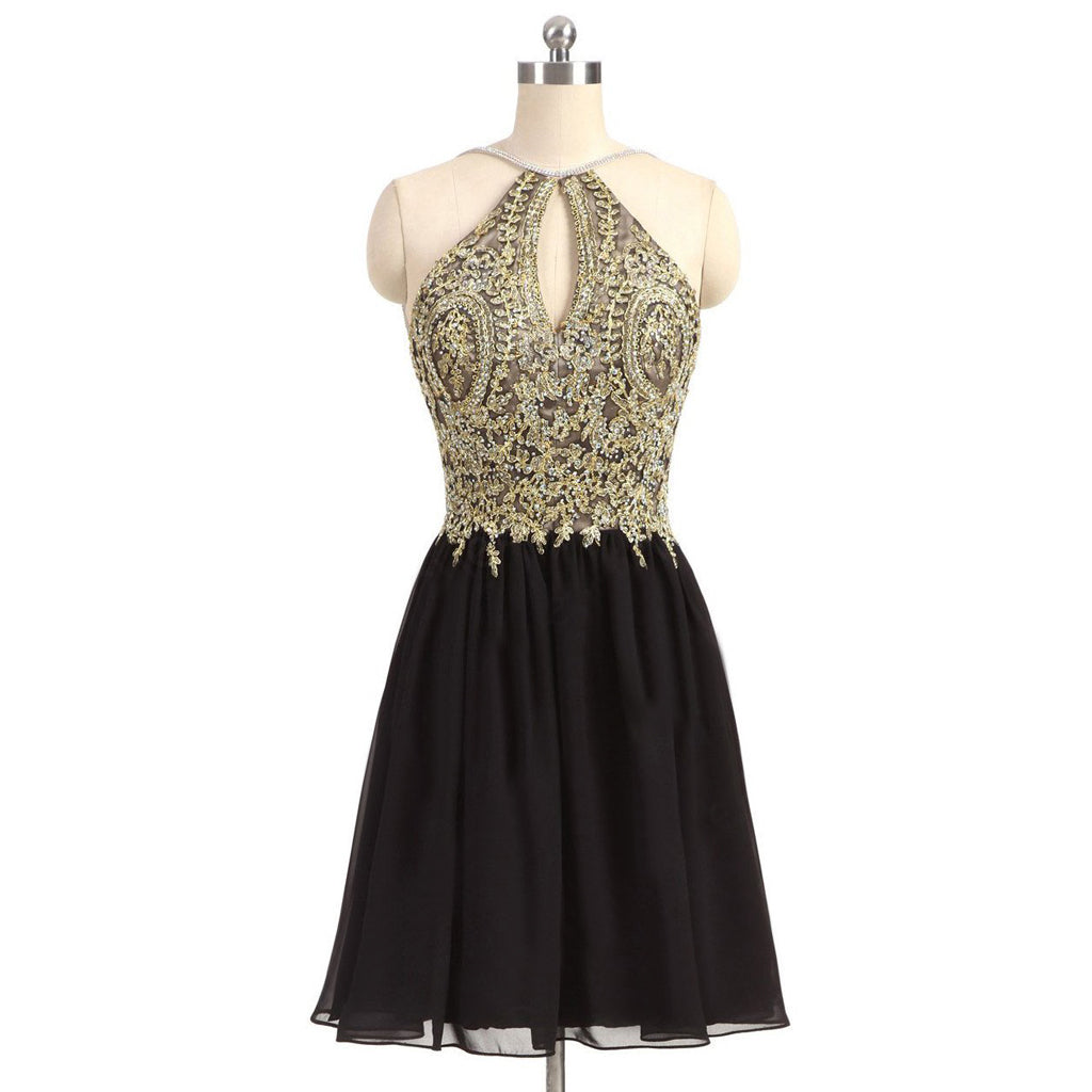 Newest Unique Beading Halter Lace Appliques Top  Black Chiffon Skirt Open Back Homecoming Prom Dress,BD0141