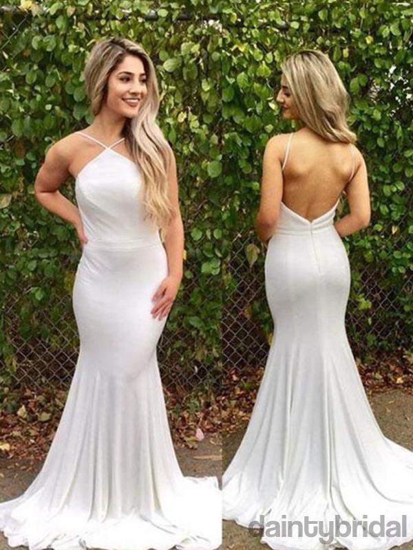 Simple Open Back With Train Double FDY Fabric  White mermaid backless long prom dress, white evening dress.DB10021