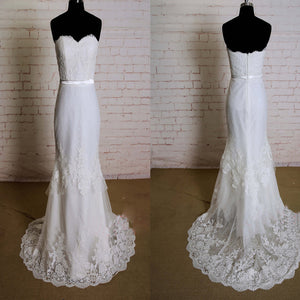 Elegant Special Column Strapless Lace Sweetheart Neckline Layered Skirt Sweep Trailing Wedding Dress, WD0163