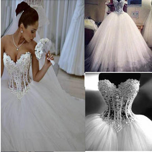 Sparkly Crystal Ball Gown Corset Wedding Dress with Beading Sweetheart Tulle Princess Bridal Gown .WD0110