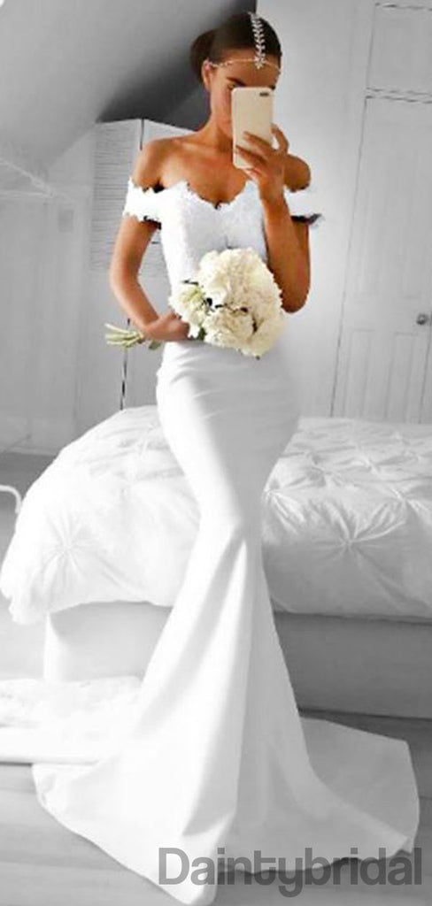 Mermaid Off-Shoulder Sweep Train White Prom Dresses with Lace.DB10141
