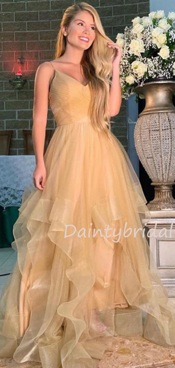 Sexy V-neck Tulle A-line Long Prom Dresses Evening Dresses.DB10453