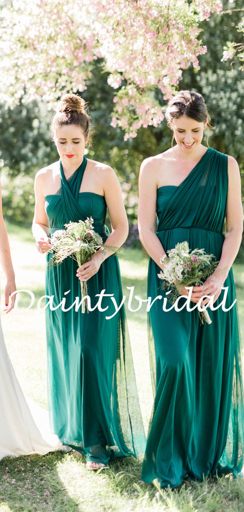 Charming Sweetheart Spaghetti Strap Simple Tulle Long Bridesmaid Dresses.DB10762