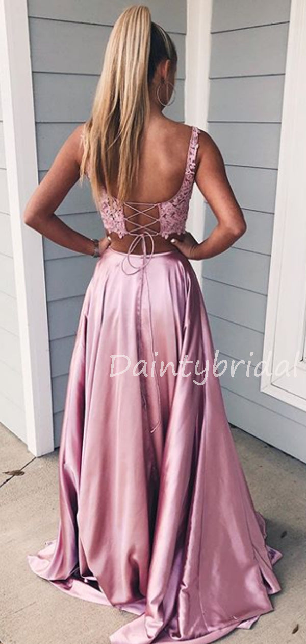 Sexy V-neck Side Slit A-line Two-piece Lace Satin Long Evening Dresses Prom Dresses.DB10513