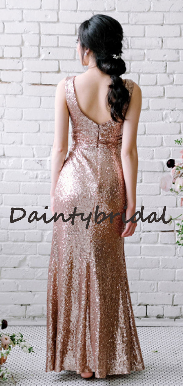 Simple V-neck Sequin Floor-length Long Evening Dresses Bridesmaid Dresses.DB10718