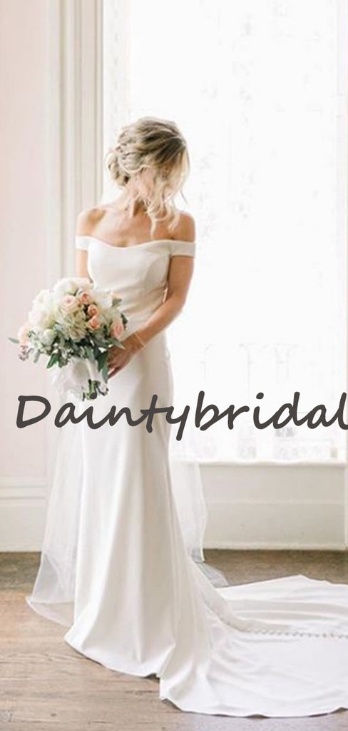 Charming Straight Mermaid Simple Dresses With Train Wedding Dresses, DB10733