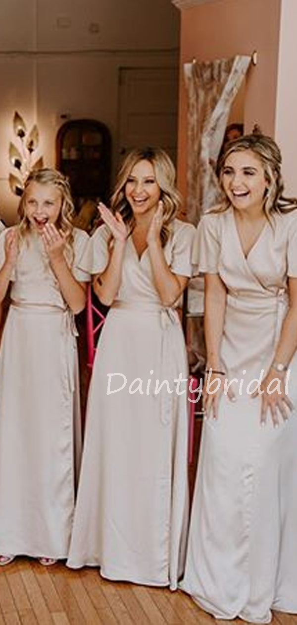 Charming V-Neck Floor Length A-line Long Bridesmaid Dresses.DB10523