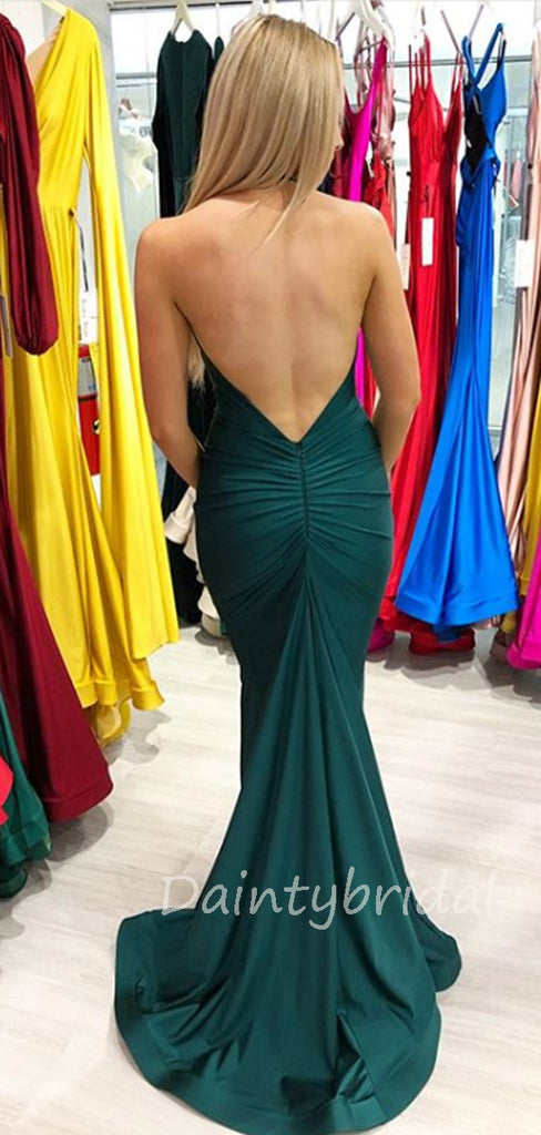 Sexy V-neck Mermaid Satin Open Back Long Prom Dresses Evening Dresses.DB10373