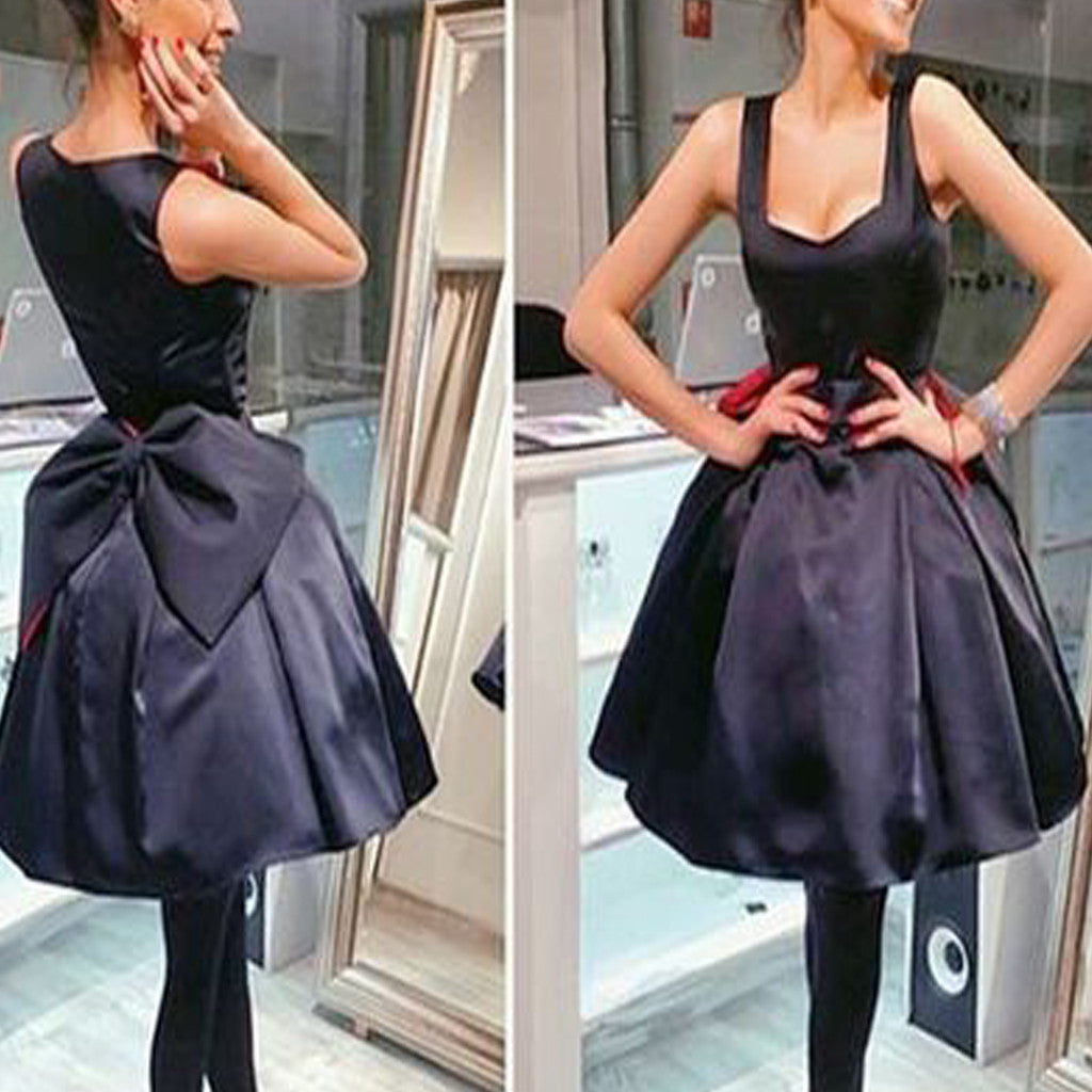 Lovely Black Bow Knot Disney Sleeveless Scoop V Neck Petal Homecoming Prom Dress For Teen,BD0030
