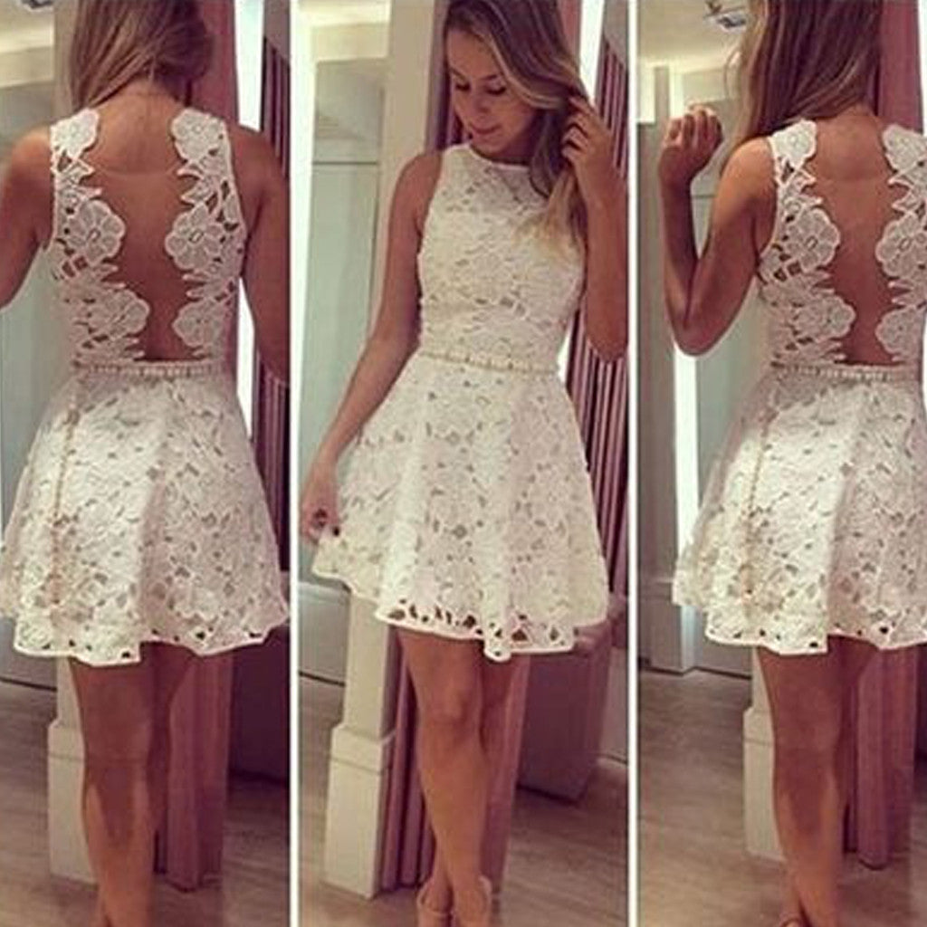 Unique Style White Full Lace Sleeveless Clairvoyant Outfit Deep Open Back Mini Homecoming Prom Dress,BD0031