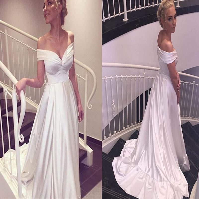 Cheap Simple A-line New Off Shoulder V-neck Long Train  Elegant Satin Ball Gown Wedding Dresses. DB0120