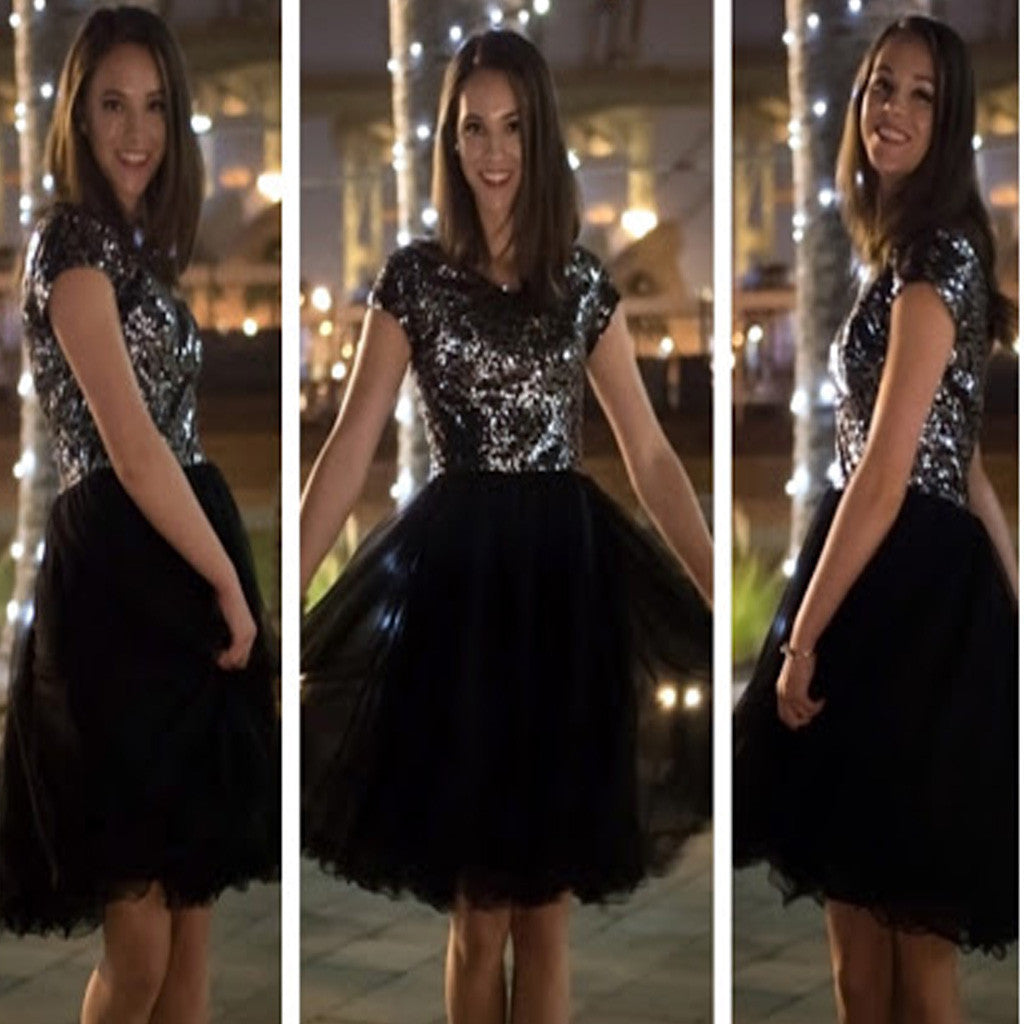 Elegant A-line Cap Sleeve Sequin Sparkly Black Knee Length Homecoming Prom Gown Dress,BD0032