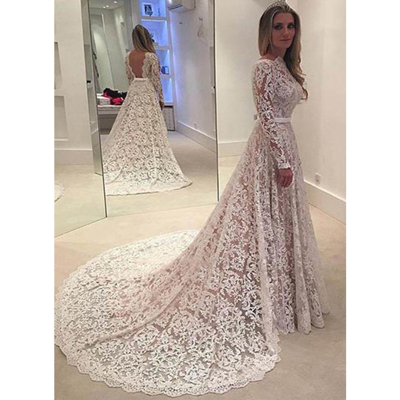 Simple Long Sleeve Full Lace Open Back Sash Large Train Elegant Unique Style Vintage Wedding Dresses Db0122