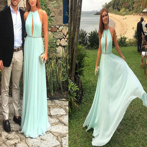 Cheap Elegant Halter Mint Green Floor-length Simple Backless Sexy Keyhole Neck Long Prom Dress. DB051