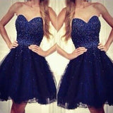 Royal Blue Strapless Sweetheart Beads Ball Gown Sparkly Cute Above Knee Length Homecoming Prom Dress,BD0035