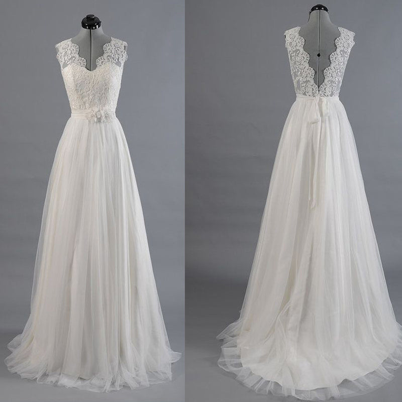 Vintage Country Long A-line Spaghetti Strap V-neck Clairvoyant Outfit Lace Back Satin Wedding Dresses. DB0152