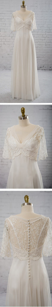 Vintage Column V-neck Half Sleeve Spaghetti Strap Clairvoyant Outfit Lace Top Wedding Party Dresses, WD0037