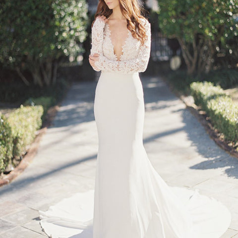 Elegant Sexy Deep V-Neck Long Sleeve Lace Top Mermaid Sweep Trailing Wedding Party Dresses, WD0038