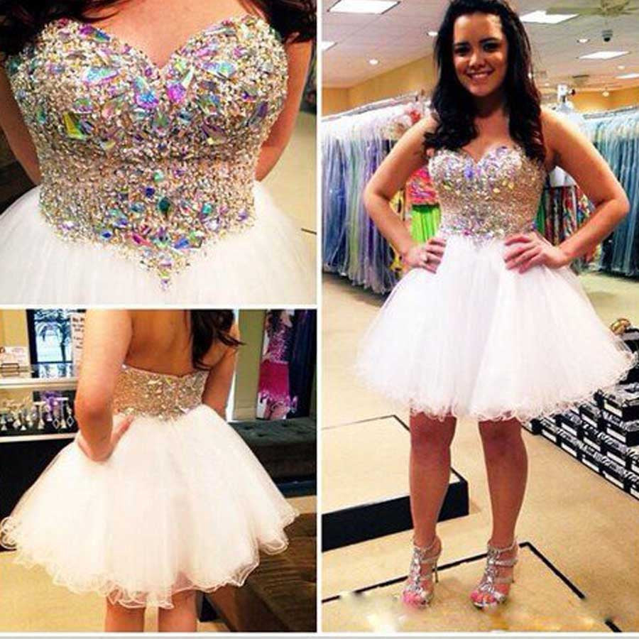 Lovely Strapless Sweetheart Sparkly Colorful Rhinestone Short A-line Homecoming Prom Dress,BD0039