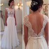 New Vintage Clairvoyant Outfit Lace Appliques Backless Elegant Simple Floor Length  A-line Wedding Dresses. WD0261