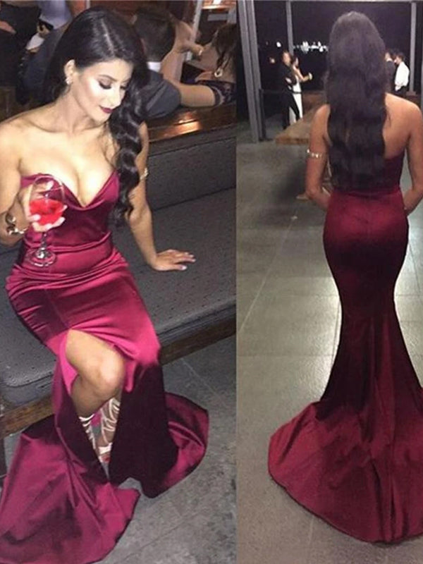 Simple Cheap Strapless Mermaid Sweetheart High Side Slit Chapel Trailing Long Evening Prom Dresses,PD0167