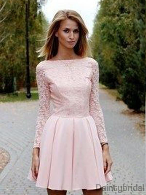 Lace Homecoming Dress, Sexy Long Sleeves Party Dresses, Deep V back backless Dresses.BD10123