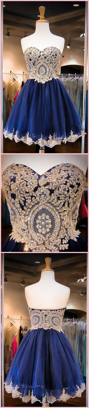 Vintage Navy Blue Strapless Sweetheart Lace Appliques Beads Mini Homecoming Prom Dresses, CM0027