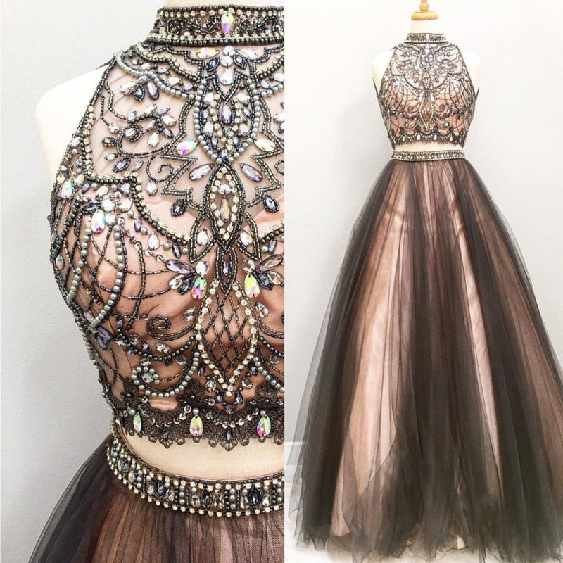 Hot Sale Two Pieces Gorgeous  Rhinestone Beading Open Back Vintage Ball Gown Long Prom Dresses. DB081
