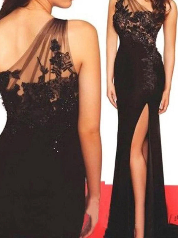 Long Column Custom Backless Sleeveless Fashion Sexy High Split Side One Shoulder Prom Dresses,PD0148