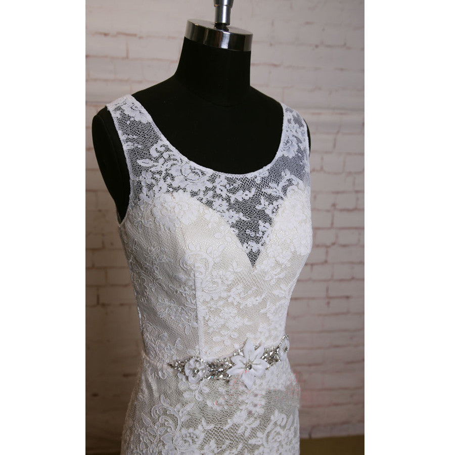 Fashion Ivory Lace Elegant Scoop Neck Open Back Vintage Column Sweep Trailing Wedding Dresses, WD0081