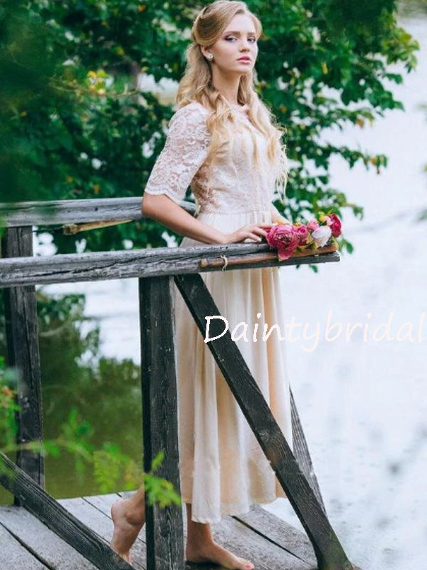 New Arrival 1/2 Sleeve Lace Chiffon Long Bridesmaid Dresses.DB10563