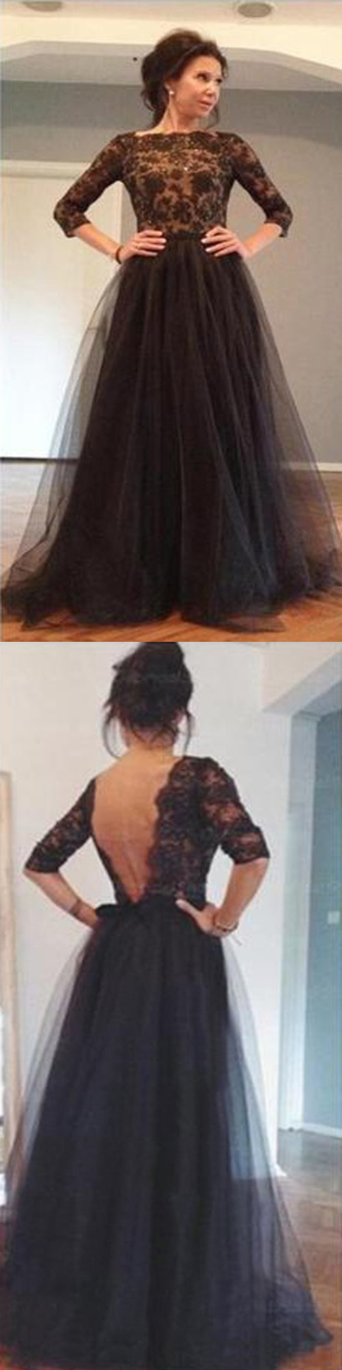 Elegant Half Sleeve Black Lace Top Tulle Skirt Sexy Backless Ball Gown Evening Party Prom Dress, PD0015