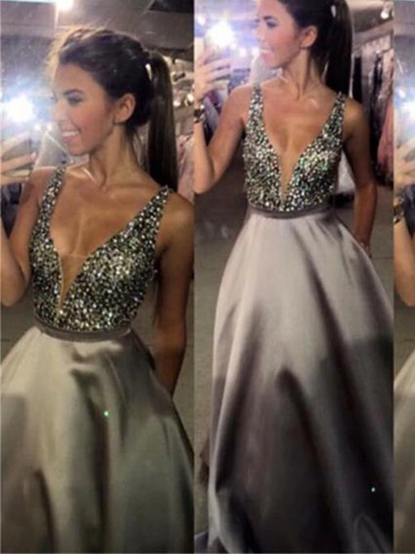 Long Custom Charming V-neck Sexy Popular A-line Sparkly Rhinestone Ball Gown Prom Dress,PD0095