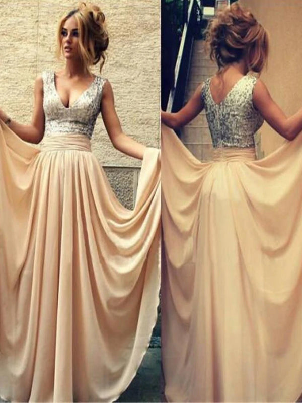Long Sparkly V-neck Sleeveless Chiffon A-line Floor Length Charming Evening Party Prom Gown Dresses,PD0080