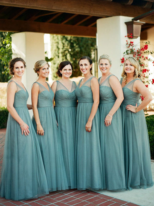 Charming V-neck Sleeveless Floor-length Tulle Long Bridesmaid Dresses.DB10749