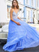 Charming V-neck Tulle  A-line Long Prom Dresses Evening Dresses.DB10613