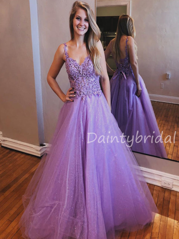 Charming V-neck A-line Tulle Long Prom Dresses Evening Dresses.DB10483