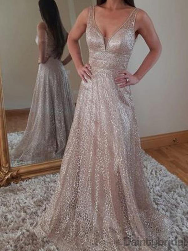 Sexy V-neck A-line Sequin Prom Dresses.DB10173