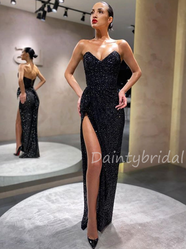 Sexy Sweetheart Sequin Side Slit Long Prom Dresses Evening Dresses.DB10444